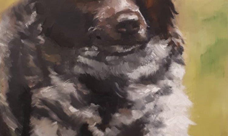 Hondje, geschilderd door een cursist
