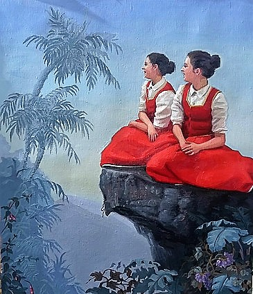 Twee jonge vrouwen in rode traditionele jurken zitten op een rots en kijken verwachtingsvol uit.