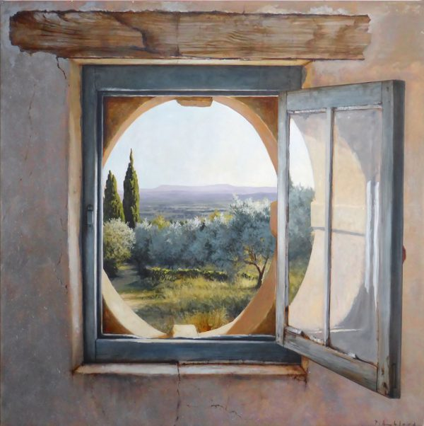 Italiaans landschap gezien door een geopend raam.
