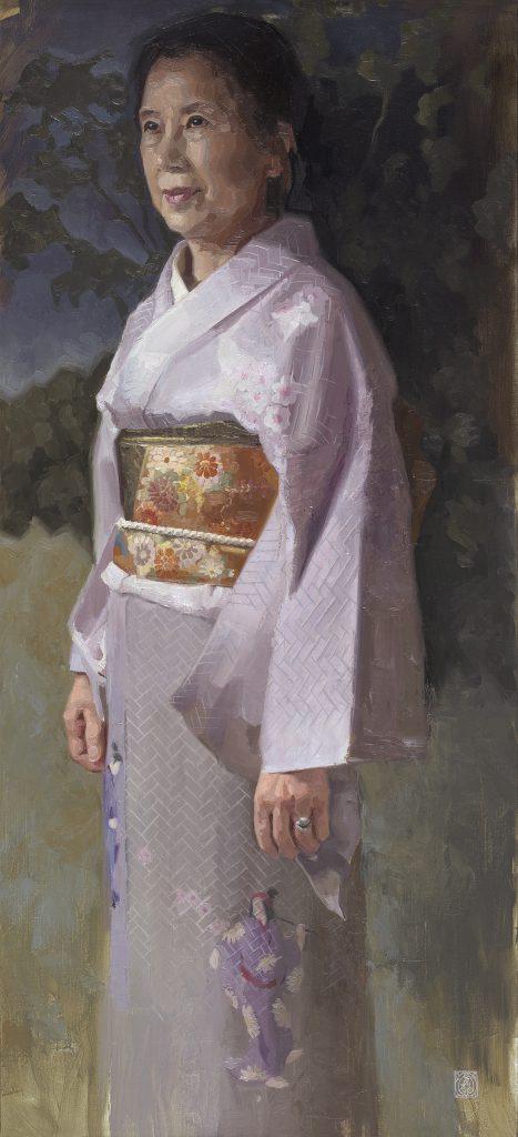Yoshimi #oilpainting by Gabriëlle Westra Een Japanse vrouw in een kimono.