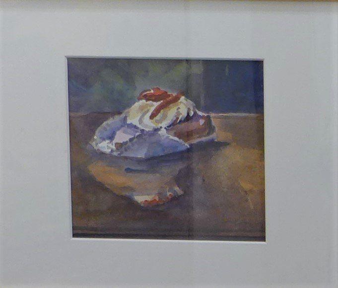 Gebakje met slagroom, aquarel door Jan van Loon