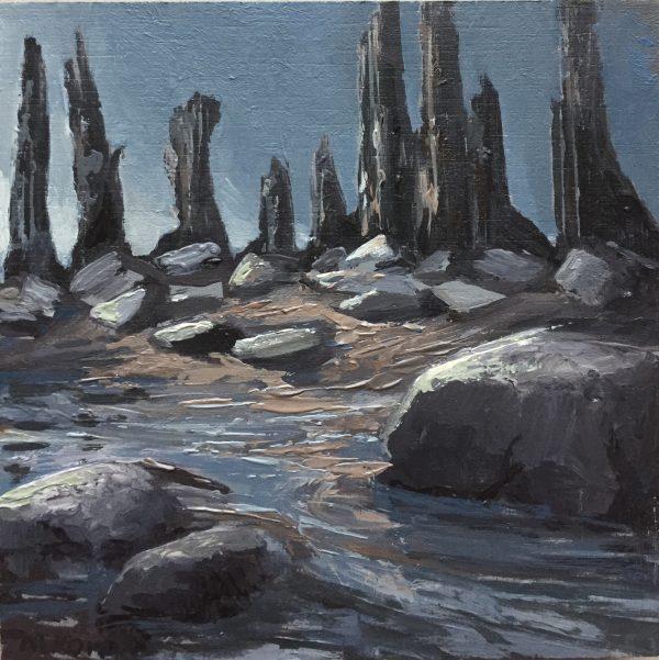 Keien bij laag water, olieverfschilderijtje door Marein Konijn.