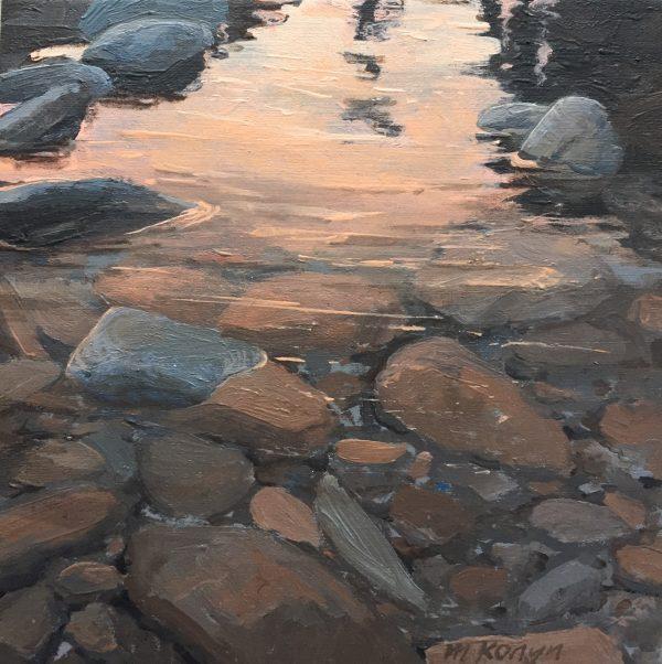 Kein in de rivier De Bez #oilpainting M. Konijn