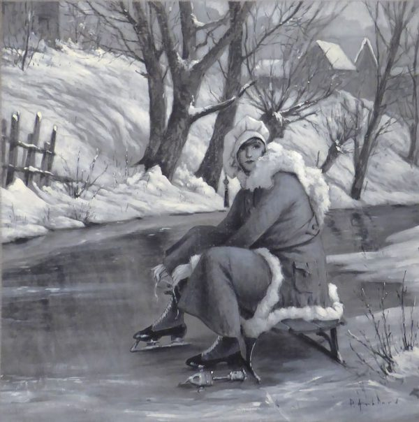 Nostalgic black and white acrylic painting of a woman ready to go ice skating.