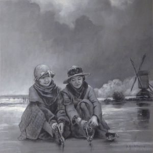 Nostalgic black and white acrylic painting of two women ready to go ice skating. A mill in the background.