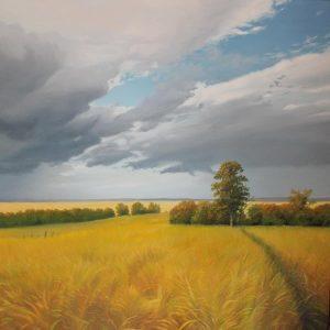Drifting - Goudgeel graanveld met bosschage en voorbijdrijvende wolken.