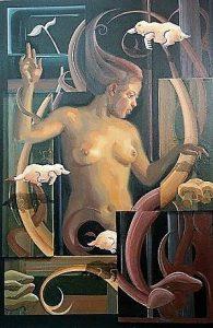 Element Aarde; detail naakte donkere vrouw, gecombineerd met ornamenten en mollen