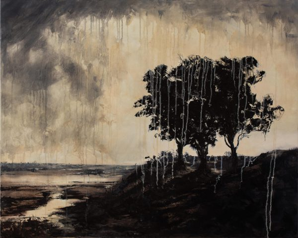 De drie bomen, schilderij geïnspireerd op Rembrandt
