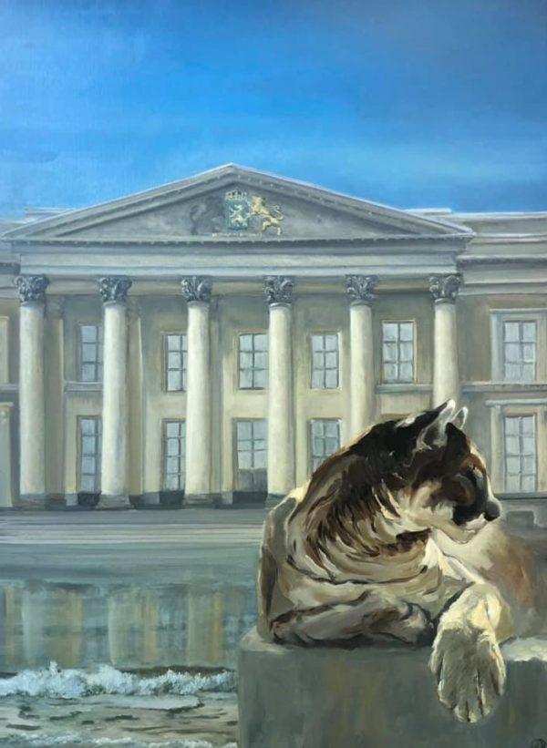 Een witte leeuw ontsnapt uit fronton van het gerechtsgebouw, gereflecteerd te zien in het golvende water op de voorgrond