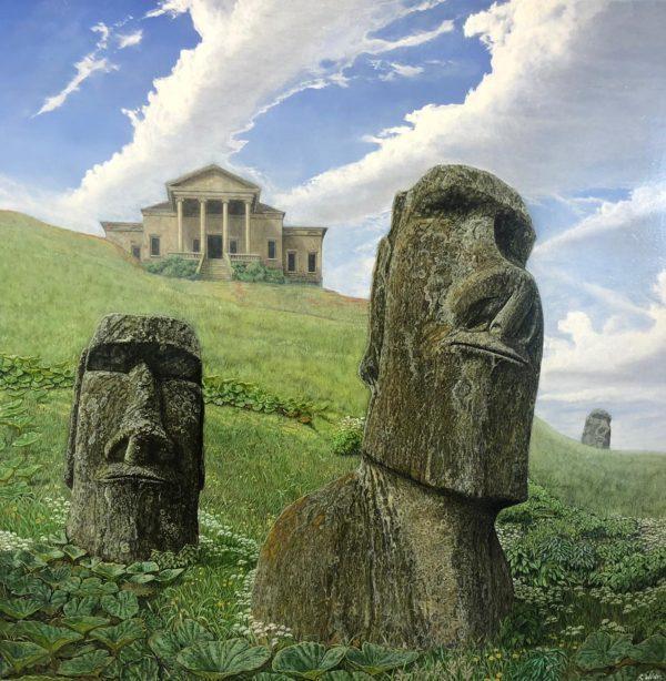 quasi realistisch schilderij met stenen 'langoren' in het groene landschap. Op de achtergrond een 'Romeinse' tempel.