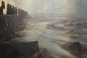 'Zandplaat' olieverfschilderij van het wad door Marein Konijn