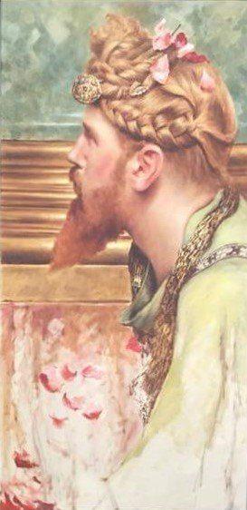 Man met rode baard en gevlochten rossig haar voorkomend op een schilderij van Tadema: de rozen van Heliogabalus.