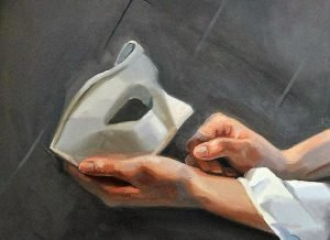 Two hands, one of them is holding a white mask. Grey background.