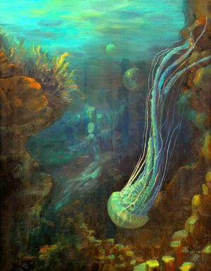 Een prachtige kwal zwemmend in de diepzee