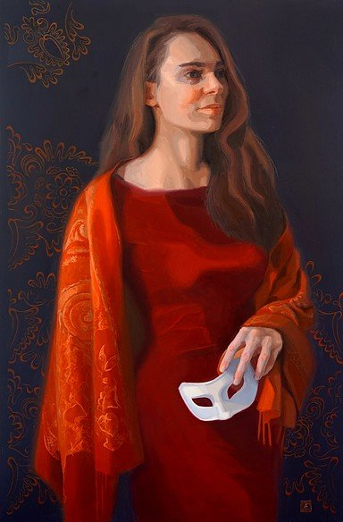 A lady in red dress and red shawl holding a white mask in her left hand. She has to make a choice..
