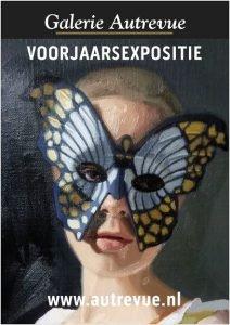 Een meisje met een vlindermasker, een olieverfschilderij (detail) door Gabriëlle Westra