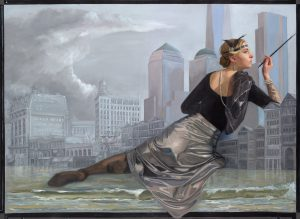 Dream of Freedom, oilpainting by Gabriëlle Westra and Randolph Algera. A woman in art deco style is sitting in an archtectual setting of New York, while waves are rolling at her feet.