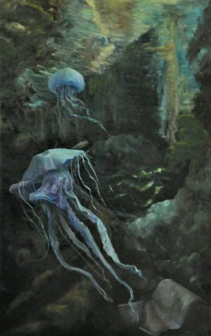 Two jellyfishes are drifting in the deep sea. Light is beaming through.