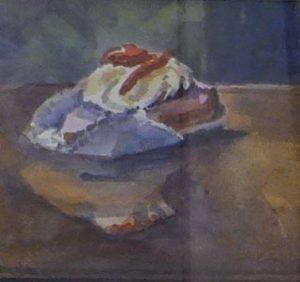 Oranjekoek met slagroom - aquarel door Jan van Loon