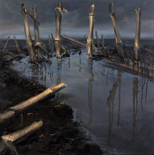 A wet field of corn stubs II 80 x 80 oilpainting by Marein Konijn