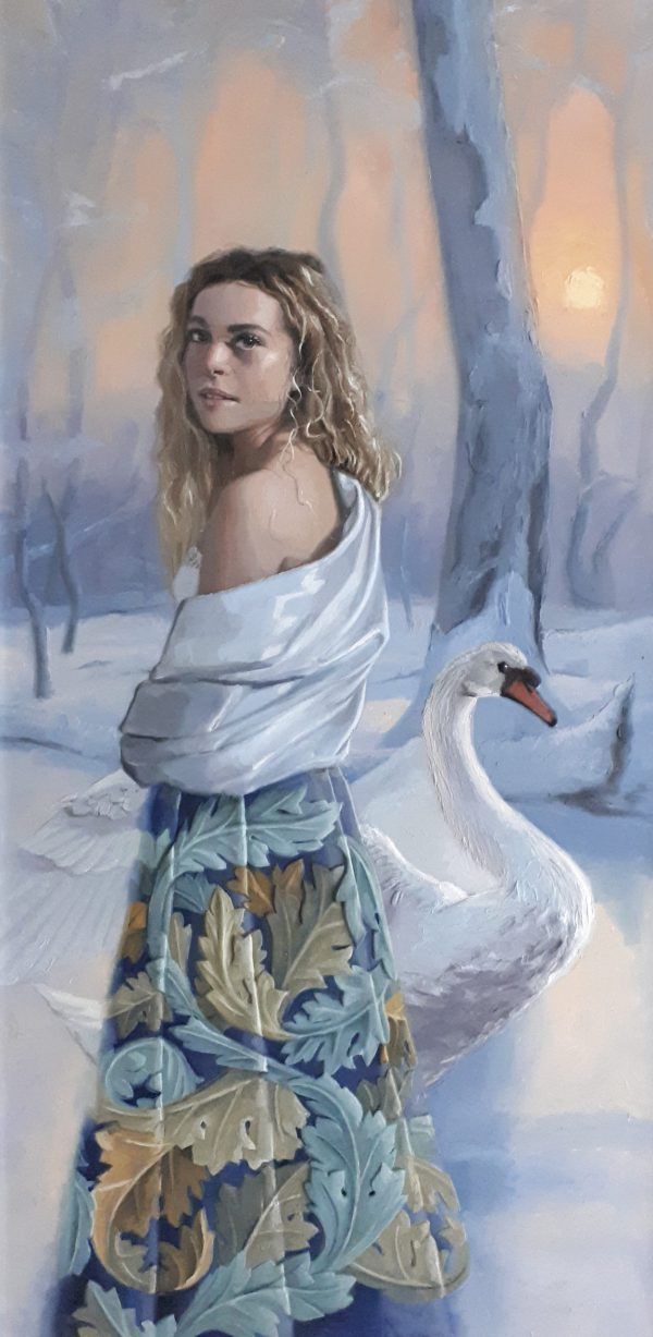 Nemesis, 80x120, oilpainting and 3D-effect on panel. A young girl with a whtie swan in a winter landscape. 1,28 mb