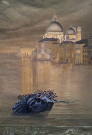 A blue mask is drifting in the water streets of Venice. In the background the buildings of Venice. Oilpainting called True Face by Randolph Algera.