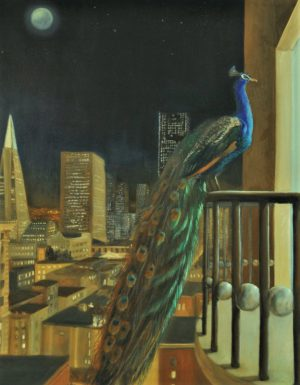 A peacock is peaking into an appartment, sitting on a balcony in a modern city at night. The moon is full. The balcony is decorated with spheres.