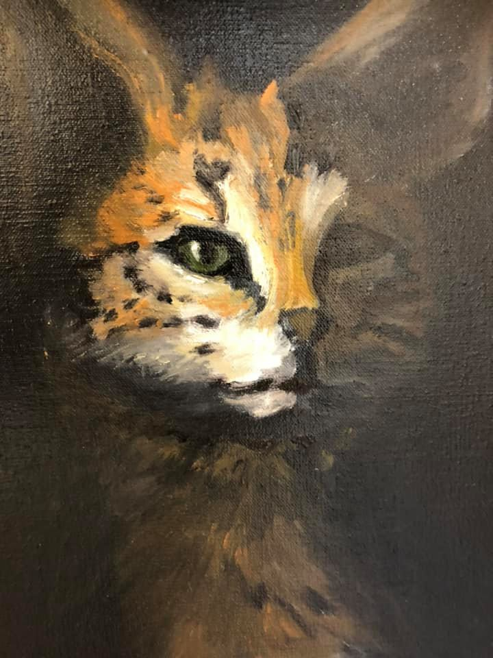 Close-up of a servalcat in an oilpainting of Randolph Algera, called Ode to the fish.