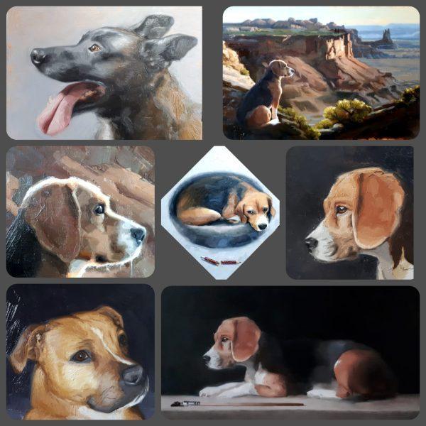 Een collage van schilderijen van honden, gemaakt door Gabriëlle Westra.