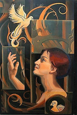 Oilpainting Fire by Gabriëlle Westra. A portrait of a red haired woman with phoenix birds and ornaments