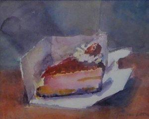 Aardbeien gebakje in geopend doosje - aquarel van Jan van Loon