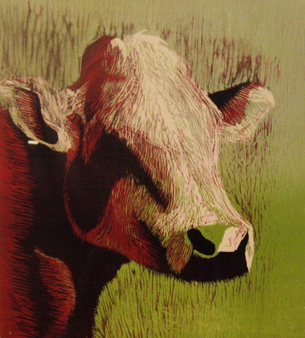 Houtsnede van een koe zonder hoorns. Rood groen gekleurd. Gemaakt door Gabriëlle Westra
