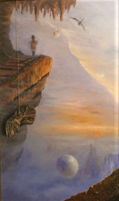 Leda and the Swan, oilpainting by Randolph Algera. A woman standing on a rock, looking out in a misty landscape with spheres, reflecting her. On a long rope a piece of rock is hanging. The swan is flying in the air.