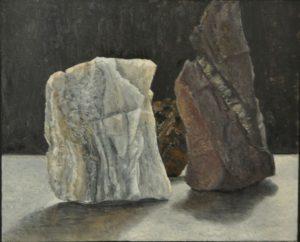 Een schilderij van Randolph Algera. Je ziet stenen, maar het zou ook een stuk marmer kunnen zijn. De natuur verrast.