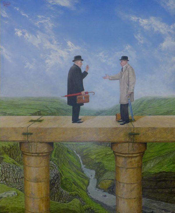 Een quasi realistisch schilderij. Twee mannen gekleed in overjassen, met paraplu's en aktetassen discussiëren op een zuilengalerij. Onder hen stroom een rivier. De lucht is licht bewolkt.