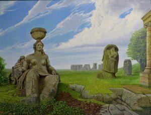 Een verzameling door mensen gemaakte oude steenvormen: een sculptuur van een vrouw, een kop als op Paaseiland, een steenformatie als bij Stonehenge en een Romeinse pilaar, in een groen landschap onder een blauwe lucht met haastig voorbijdrijvende wolken.