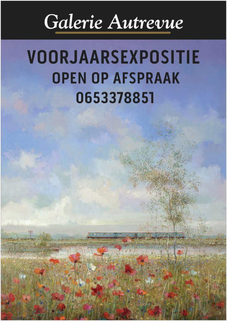 Aankondiging van de Voorjaarsexpositie. Een schilderij van Rein Pol. Blauwe engel (dieseltrein) in een veld vol bloeiende papavers.