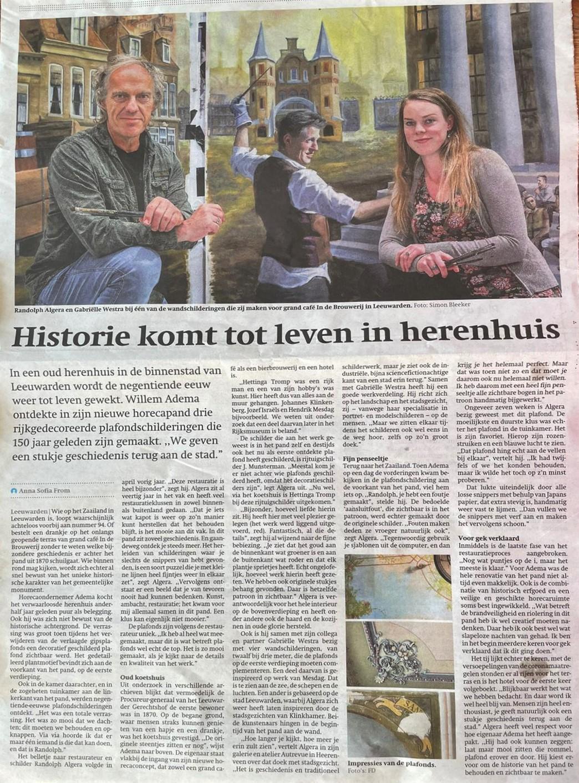 Artikel in het Friesch Dagblad over de restauratie en de wandschildering door Randolph Algera en Gabriëlle Westra