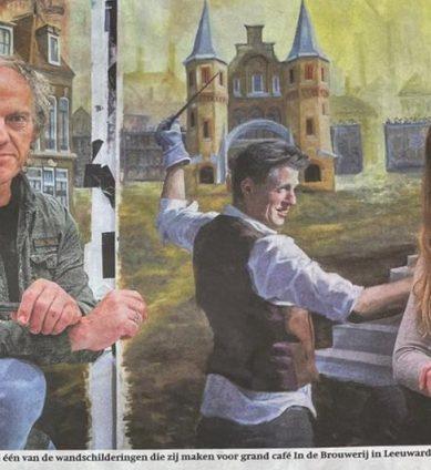 Randolph Algera and Gabriëlle Westra before their mural (12 x 3 m) which is coming in hotel grandcafé In de Brouwerij Zaailand 94 in Leeuwarden.