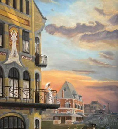 Een deel van de 12 x 3 m grote wandschildering voor In de Brouwerij in Leeuwarden. Het deel toont de Jugendstil apotheek en De Waag.