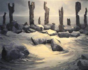 Marein Konijn schildert de stenen op het wad.
