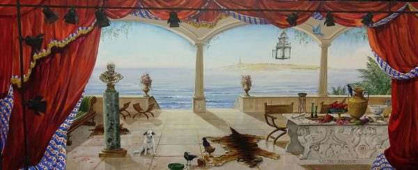 Mural of 5 x 2 m. of a mediteranian salon with view over the ocean. It is an ode to sir Alma Tadema. Grouppainting of the top of the worlds decorative painters.