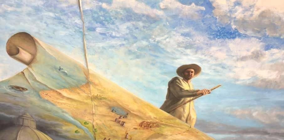 Menno Simons op de plafondschildering in de Museumkerk van Jan van Loon te Assen. Masterstudenten van de KAGroningen ontwerpen en voeren een plafondschildering uit o.l.v. hun docent R. Algera.