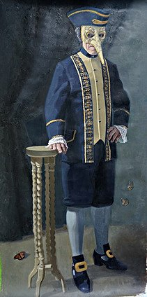 A man dressed in Venetian costume and long nose mask. An oilpainting of Gabriëlle Westra, called Recognition II.